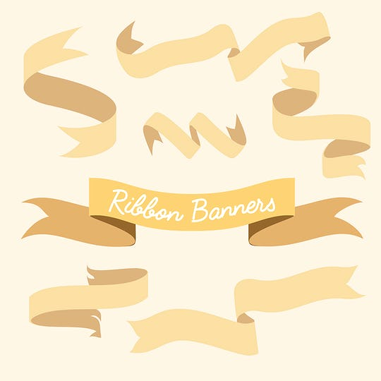Yellow ribbon banner set collection vector illustration