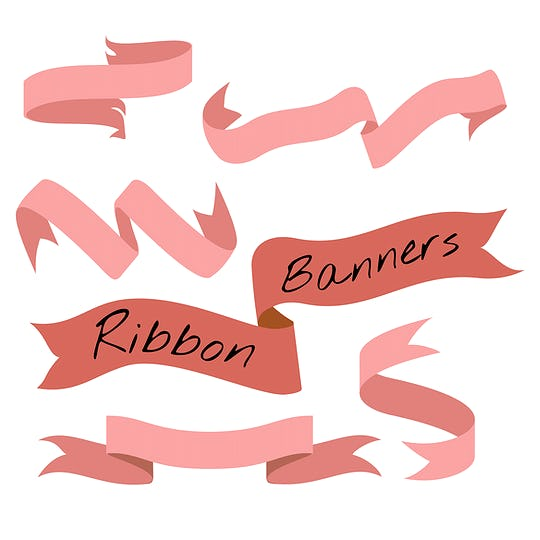 Red ribbon banner set collection vector illustration