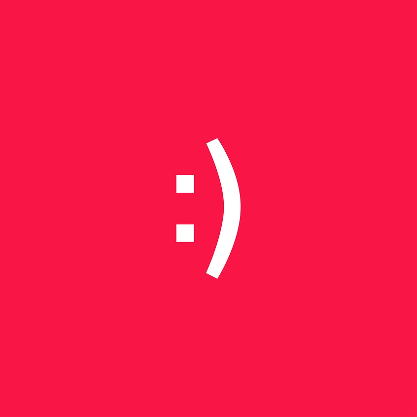 Smiling face expression icon vector illustration on red background