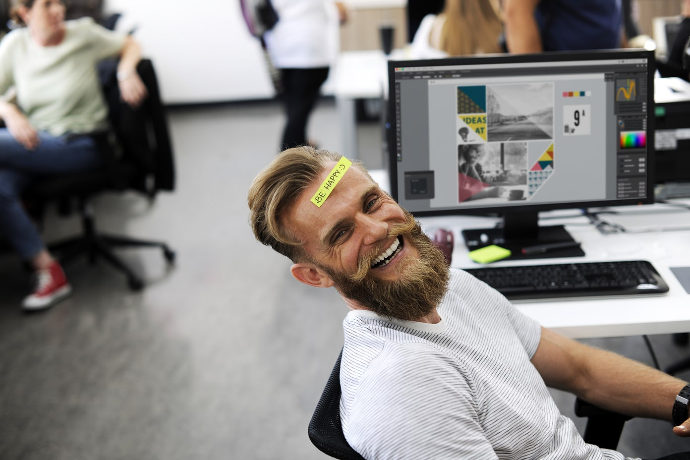 Man Having Be Happy Sticky Note on Forehead Durin Office Break Time