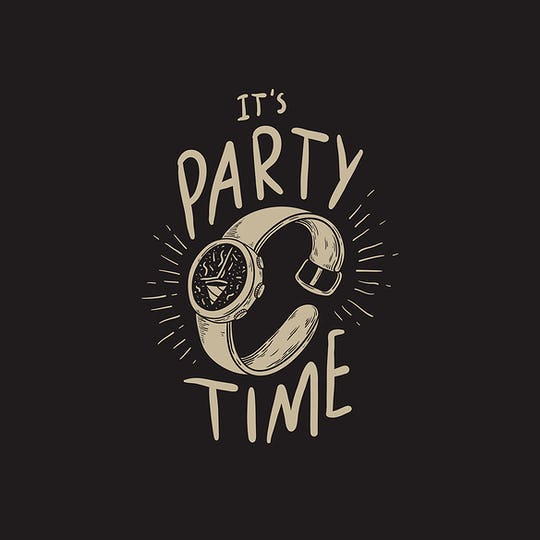 It's Party Time Typography Word Concept