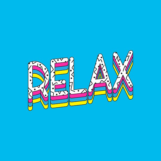 Relax Word Artwork Typography Concept