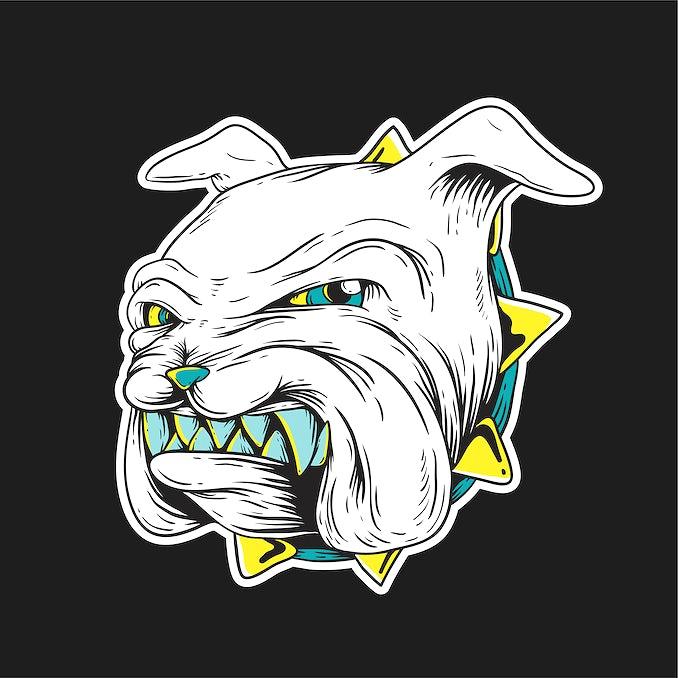 A Bulldog Grinding Its Teeth Graphic